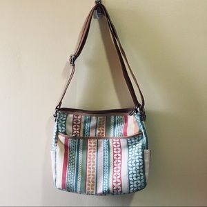 Fossil Multi-color Floral Striped Crossbody Purse